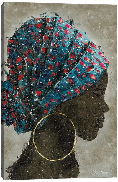 Profile Of A Woman I (gold hoop) Canvas Art Print