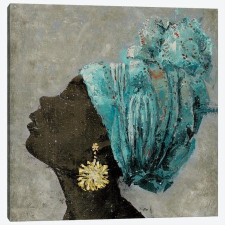 Profile Of A Woman II (gold earring) 3-Piece Canvas #MEC28} by Marie Elaine Cusson Art Print
