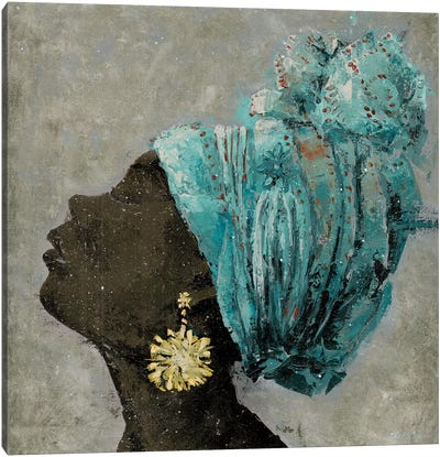 Profile Of A Woman II (gold earring) Canvas Art Print