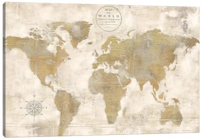 Rustic World Map Cream No Words Canvas Art Print