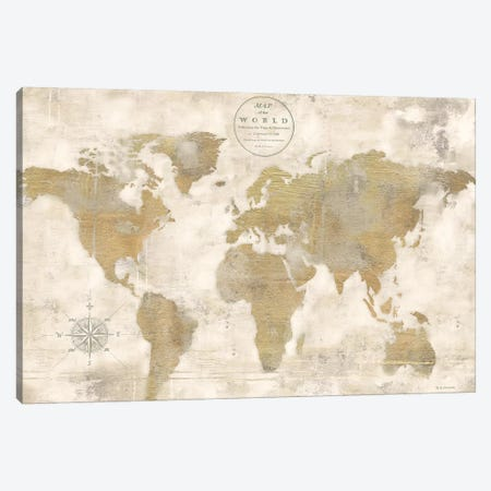 Rustic World Map Cream No Words 3-Piece Canvas #MEC42} by Marie Elaine Cusson Canvas Print