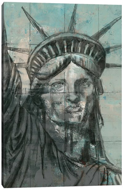 Statue Of Liberty Charcoal Canvas Art Print