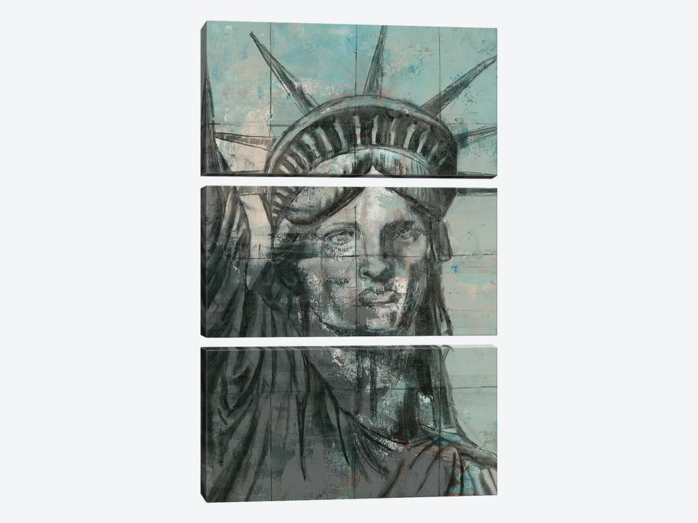 Statue Of Liberty Charcoal by Marie-Elaine Cusson 3-piece Canvas Wall Art