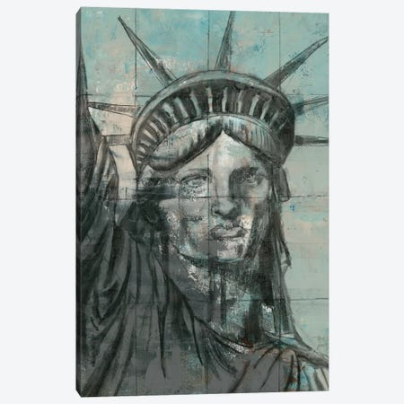 Statue Of Liberty Charcoal 3-Piece Canvas #MEC45} by Marie Elaine Cusson Canvas Wall Art