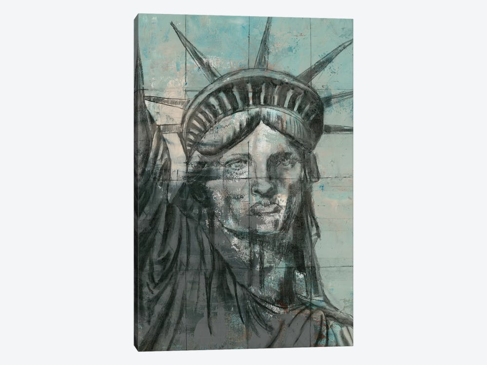 Statue Of Liberty Charcoal by Marie Elaine Cusson 1-piece Canvas Art