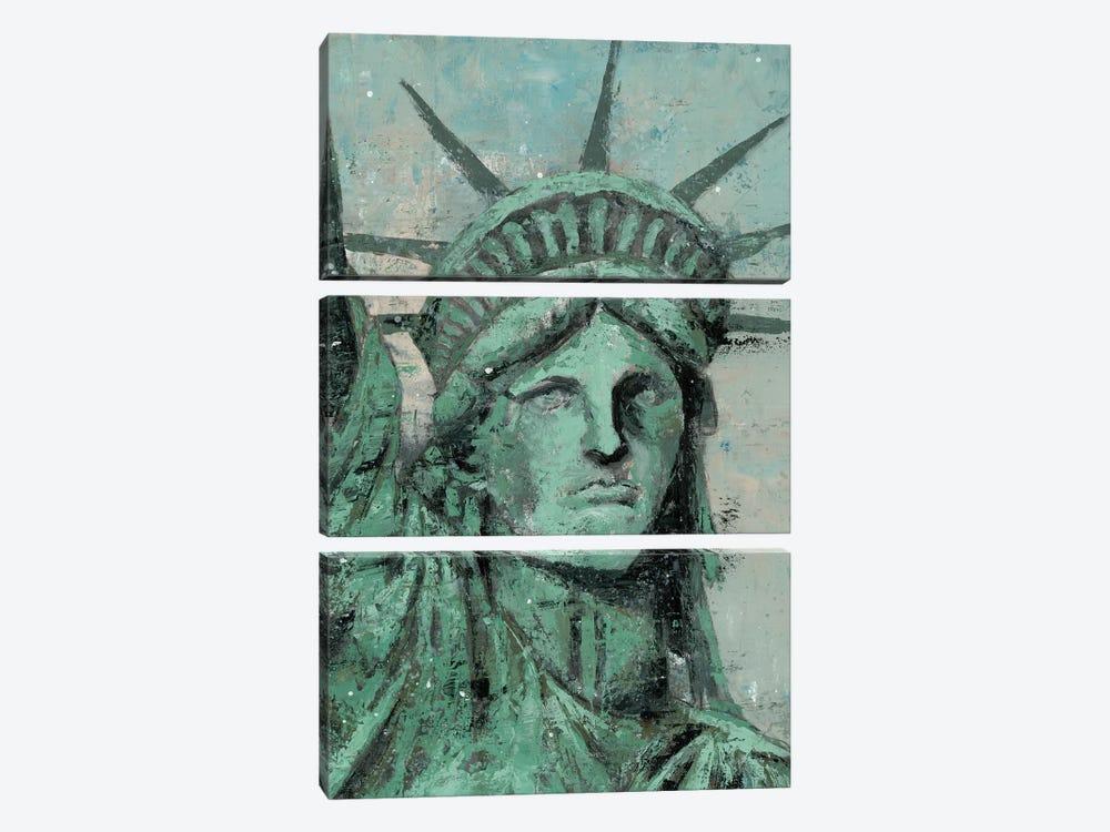 Statue Of Liberty Portrait by Marie Elaine Cusson 3-piece Canvas Art Print
