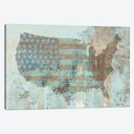 Vintage USA Map Canvas Print #MEC51} by Marie Elaine Cusson Canvas Wall Art