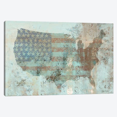 Vintage USA Map Canvas Print #MEC51} by Marie-Elaine Cusson Canvas Wall Art