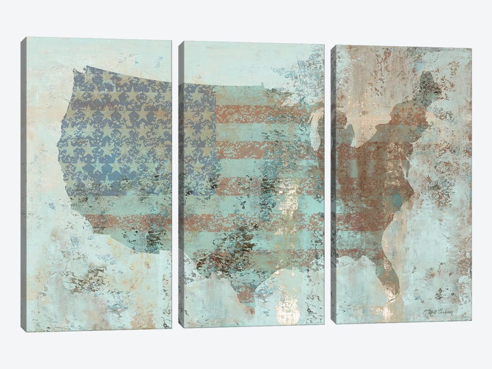 Vintage USA Map by Marie-Elaine Cusson 3-piece Art Print
