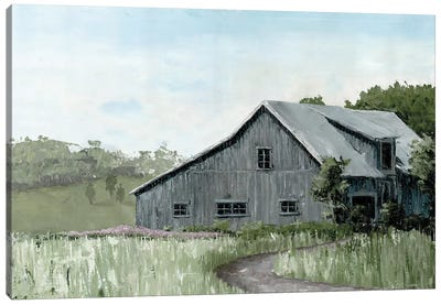 Flower Field Barn Canvas Art Print