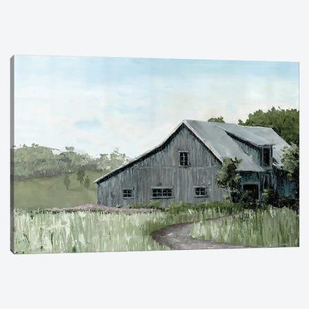 Flower Field Barn Canvas Print #MEC58} by Marie Elaine Cusson Canvas Artwork