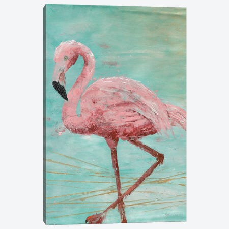 Pink Flamingo II Canvas Print #MEC64} by Marie Elaine Cusson Canvas Art