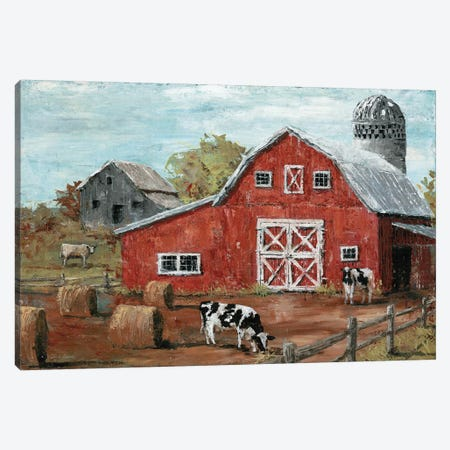 Red Country Barn Canvas Print #MEC65} by Marie-Elaine Cusson Canvas Artwork