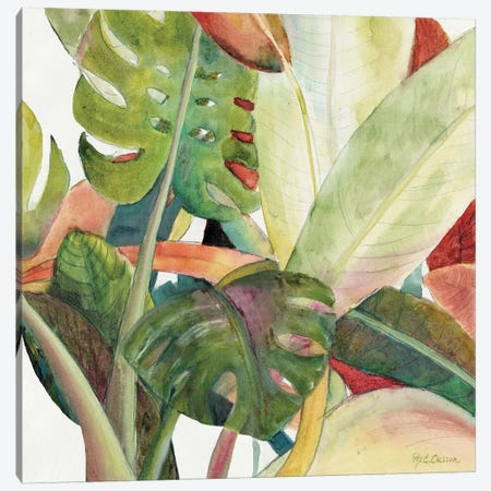 Tropical Lush Garden square I Canvas Print #MEC67} by Marie Elaine Cusson Canvas Wall Art