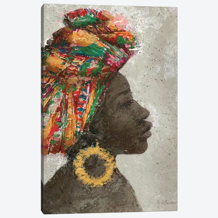 Portrait of a Woman I (gold hoop) Canvas Print #MEC79} by Marie Elaine Cusson Canvas Artwork