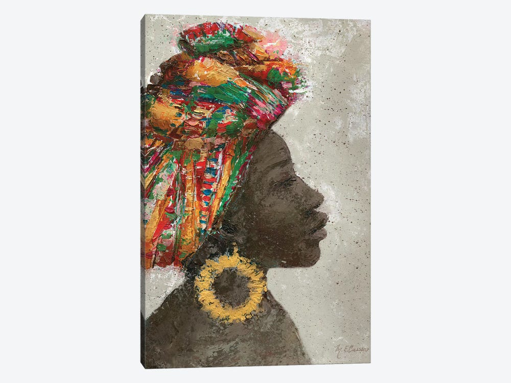 Portrait of a Woman I (gold hoop) by Marie Elaine Cusson 1-piece Canvas Art Print