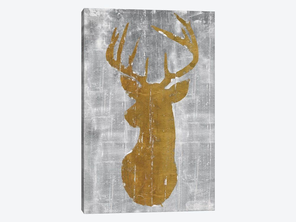 Rustic Lodge Animals Deer Head on Grey by Marie Elaine Cusson 1-piece Canvas Art Print