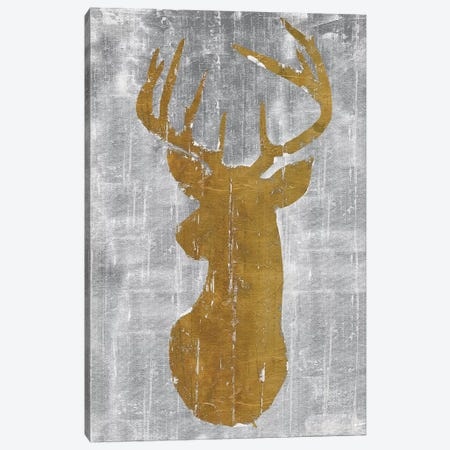 Rustic Lodge Animals Deer Head on Grey 3-Piece Canvas #MEC82} by Marie Elaine Cusson Canvas Print