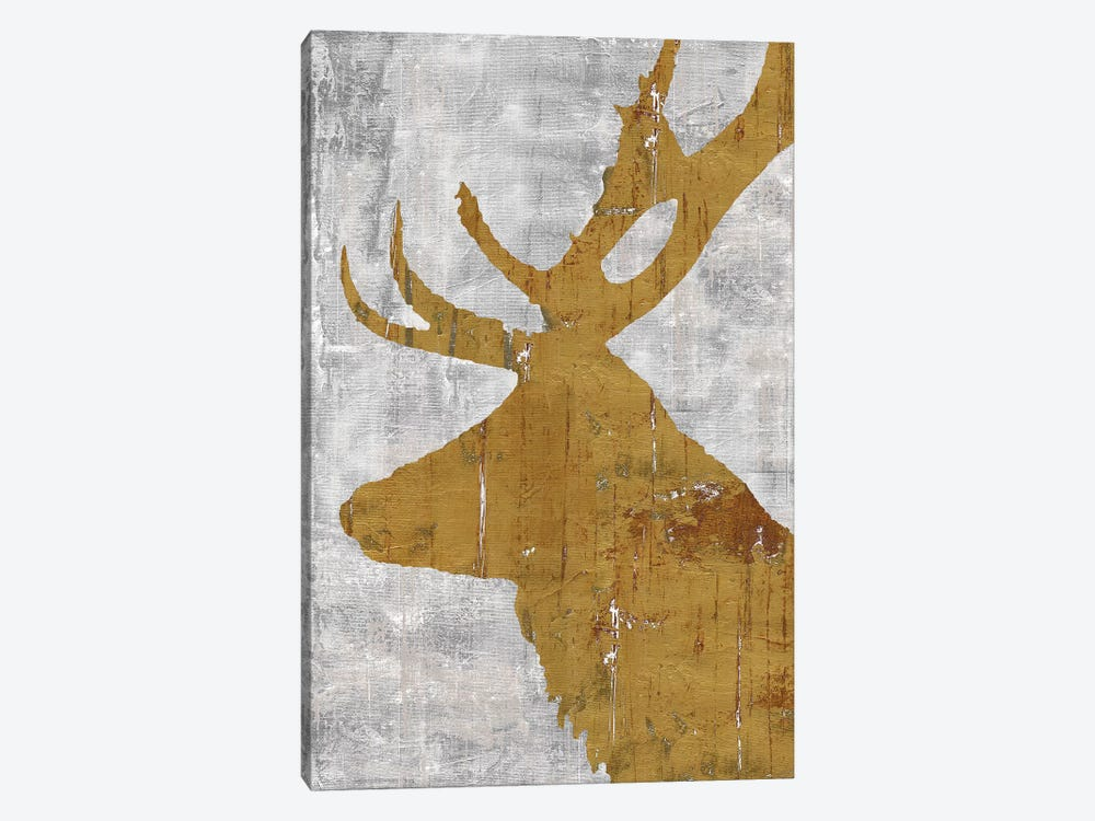 Rustic Lodge Animals Deer on Grey by Marie-Elaine Cusson 1-piece Canvas Wall Art