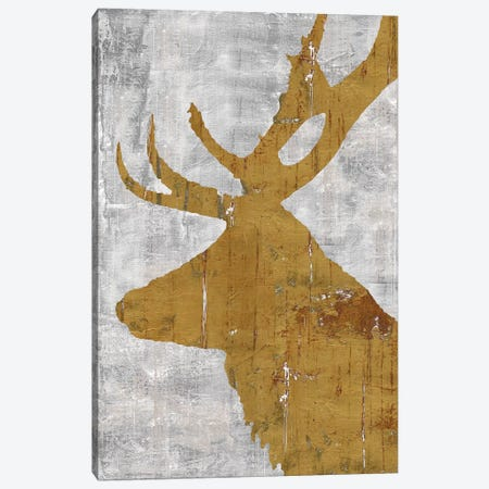Rustic Lodge Animals Deer on Grey 3-Piece Canvas #MEC83} by Marie Elaine Cusson Canvas Print