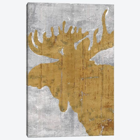 Rustic Lodge Animals Moose on Grey Canvas Print #MEC84} by Marie Elaine Cusson Canvas Artwork