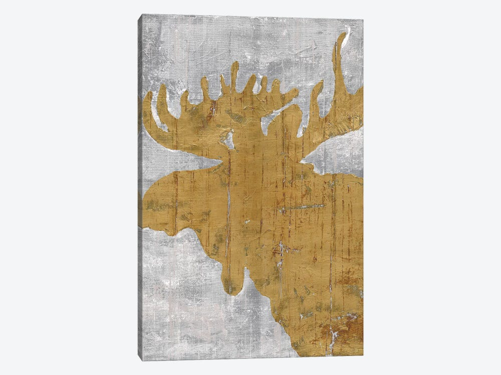 Rustic Lodge Animals Moose on Grey by Marie Elaine Cusson 1-piece Canvas Art Print