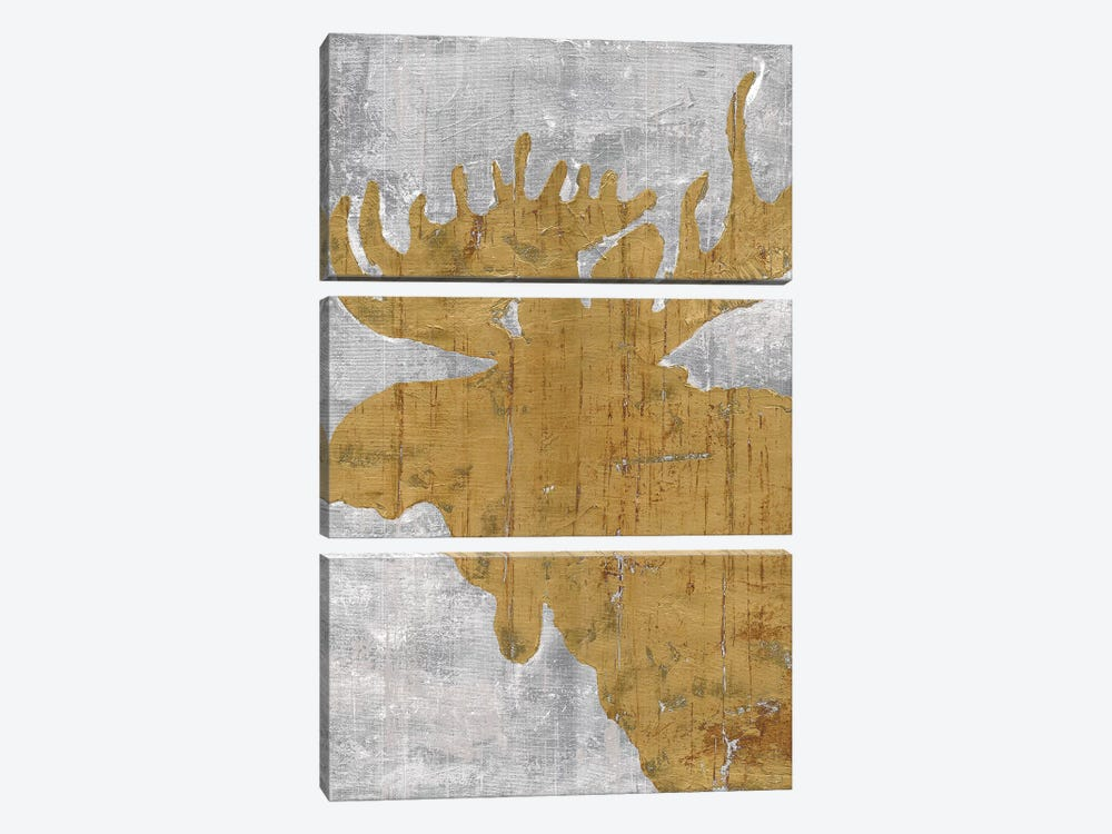 Rustic Lodge Animals Moose on Grey by Marie Elaine Cusson 3-piece Canvas Print