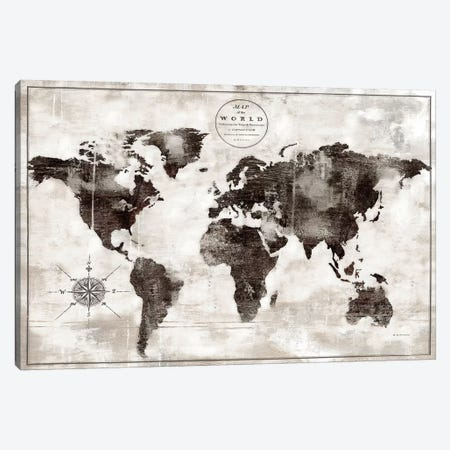 Rustic World Map Black and White Canvas Print #MEC85} by Marie Elaine Cusson Canvas Artwork