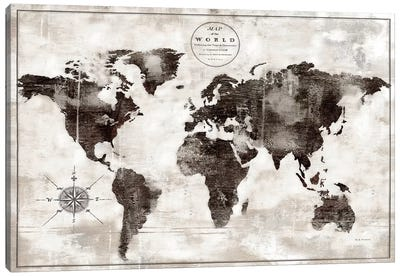 Rustic World Map Black and White Canvas Art Print