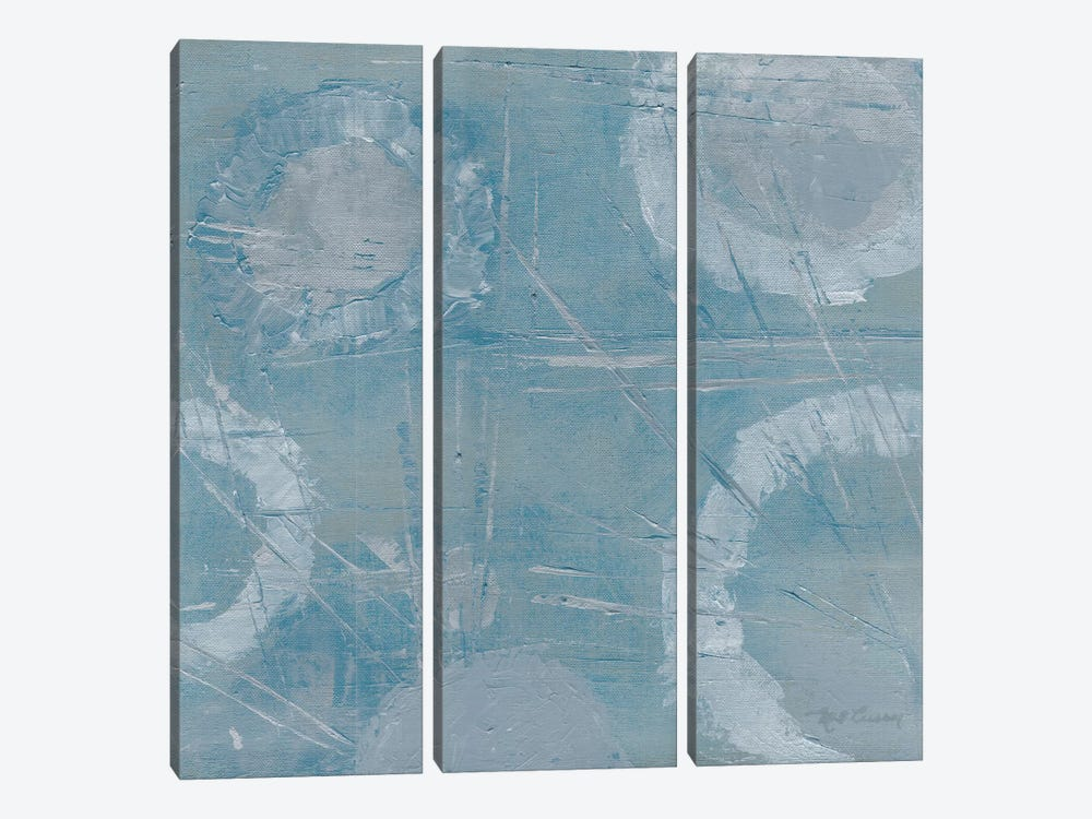 Champagne Burst Blue/Gray by Marie-Elaine Cusson 3-piece Canvas Print