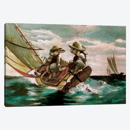 Bunny Boat Canvas Print #MEN13} by Melinda Copper Art Print