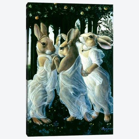 Bunny Graces Canvas Print #MEN14} by Melinda Copper Canvas Wall Art