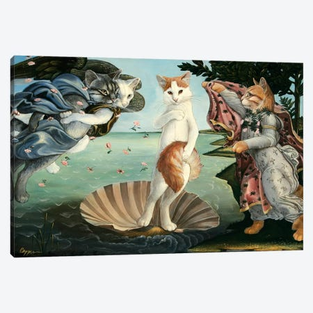 Kitty On The Half Shell Canvas Print #MEN35} by Melinda Copper Canvas Art