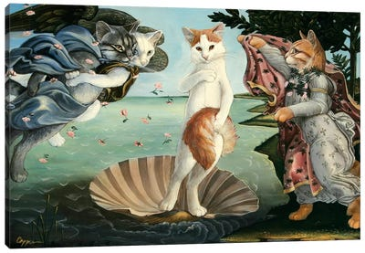 Kitty On The Half Shell Canvas Art Print