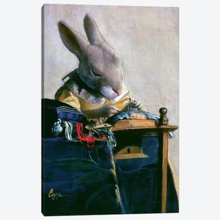 Lace Bunny Canvas Print #MEN36} by Melinda Copper Canvas Artwork