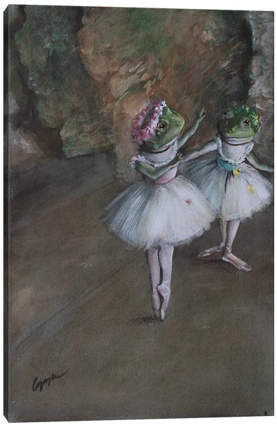 Two Frog Dancers by Melinda Copper Canvas Art Print