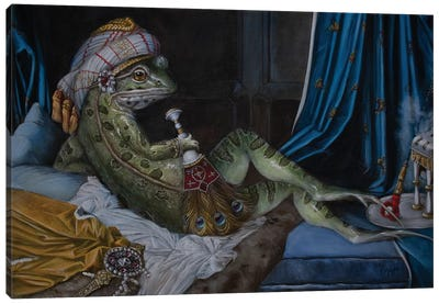 Frog Odalisque by Melinda Copper Canvas Art Print