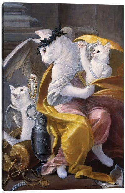 White Cat Angels Canvas Art Print