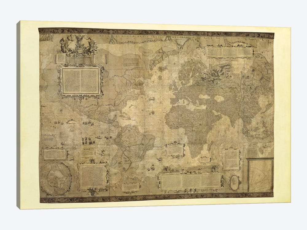 Orbis Terrae Descriptio by Gerardus Mercator 1-piece Canvas Print