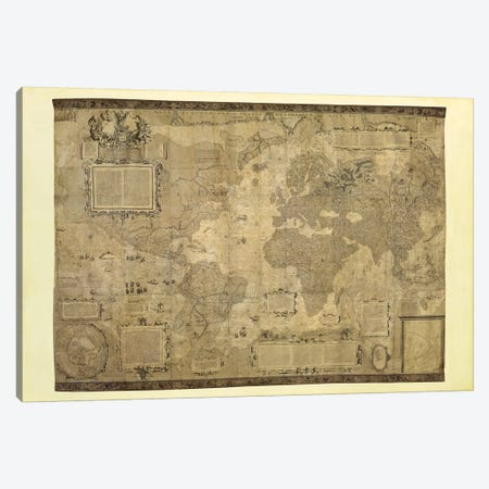 Orbis Terrae Descriptio Canvas Print #MER1} by Gerardus Mercator Canvas Wall Art