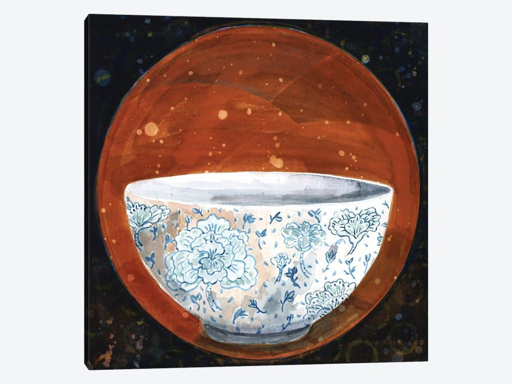 Bowl On Rust Circle by Miri Eshet 1-piece Canvas Art