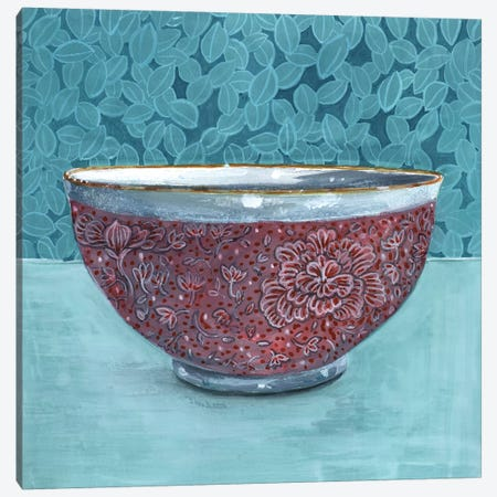 Bowl With Leafy Background Canvas Print #MET11} by Miri Eshet Canvas Art Print