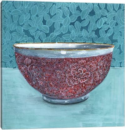Bowl With Leafy Background Canvas Art Print