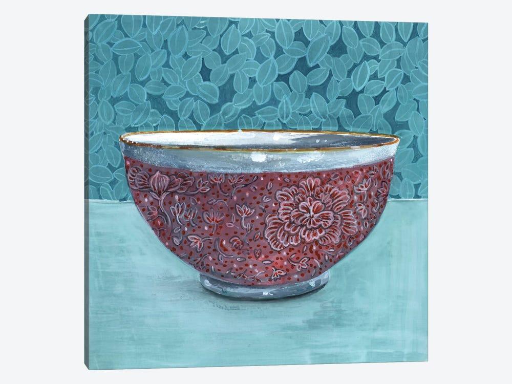 Bowl With Leafy Background by Miri Eshet 1-piece Canvas Art Print