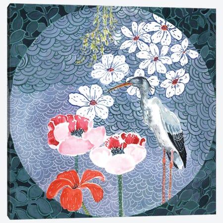 Floral Stork Canvas Print #MET13} by Miri Eshet Canvas Art Print