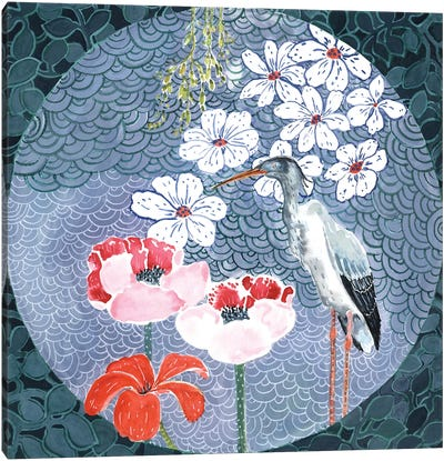 Floral Stork Canvas Art Print