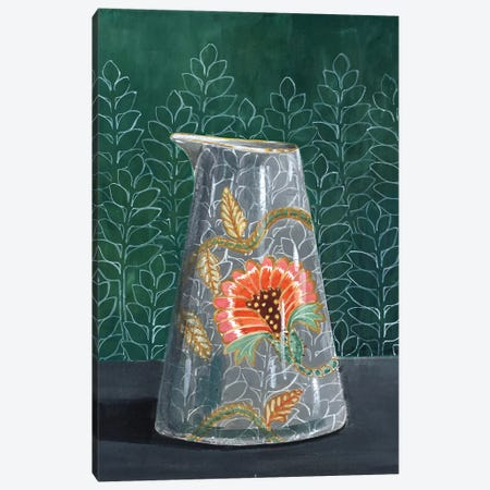 Floral Vase On Green Canvas Print #MET14} by Miri Eshet Canvas Art
