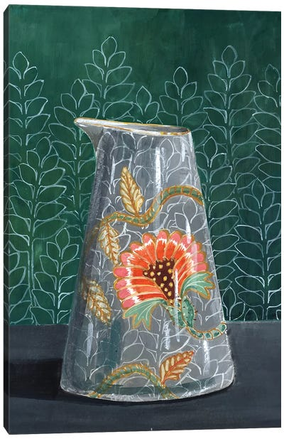Floral Vase On Green Canvas Art Print