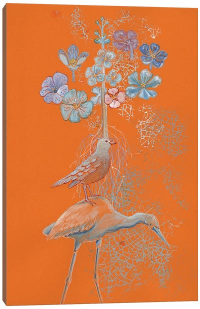 Heron Dreams On Orange Canvas Art Print