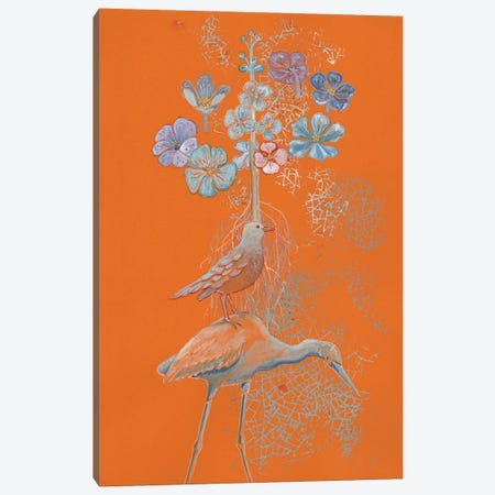 Heron Dreams On Orange Canvas Print #MET18} by Miri Eshet Canvas Art Print